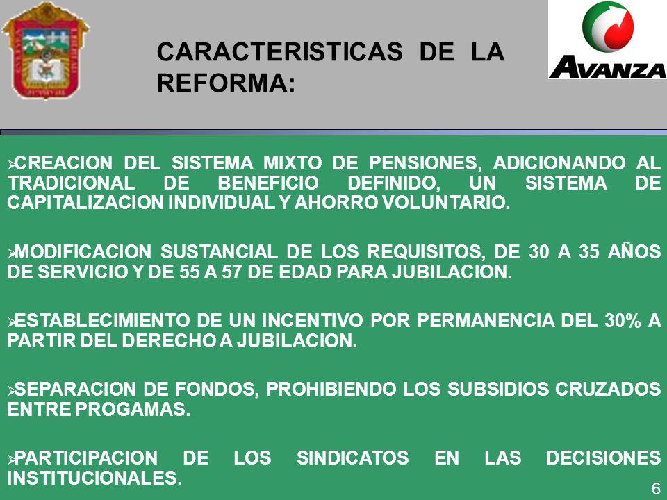 6 CARACTERISTICAS DE LA REFORMA: CREACION DEL SISTEMA MIXTO DE PENSIONES, ADICIONANDO AL TRADICIONAL DE BENEFICIO DEFINIDO, UN SISTEMA DE CAPITALIZACION INDIVIDUAL Y AHORRO VOLUNTARIO.