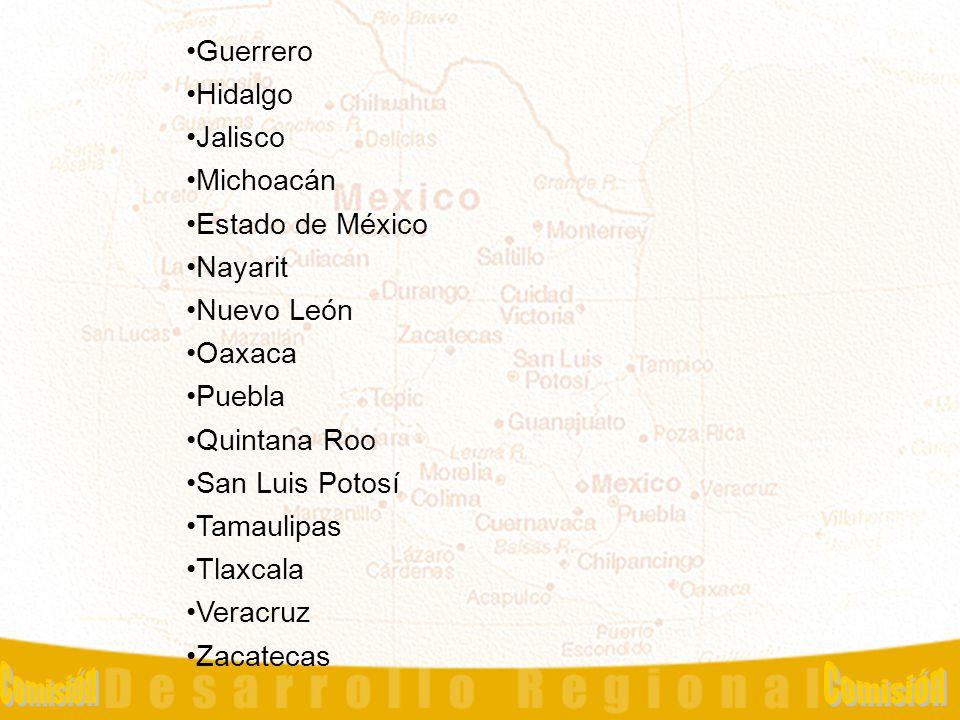 Haga clic para modificar el estilo de título del patrón Haga clic para modificar el estilo de texto del patrón –Segundo nivel Tercer nivel –Cuarto nivel »Quinto nivel 10 Guerrero Hidalgo Jalisco Michoacán Estado de México Nayarit Nuevo León Oaxaca Puebla Quintana Roo San Luis Potosí Tamaulipas Tlaxcala Veracruz Zacatecas