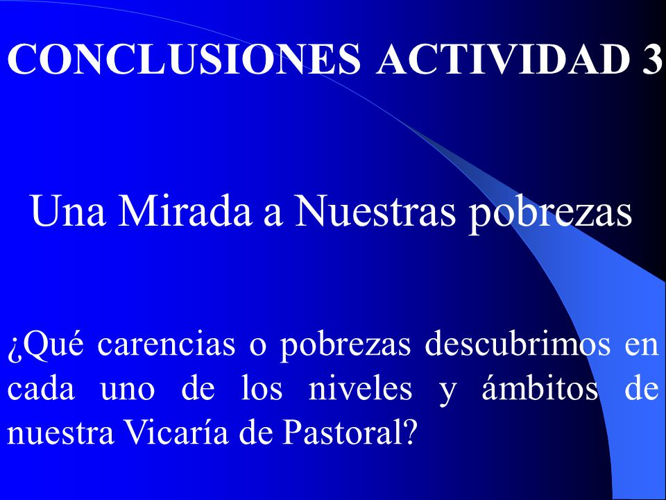 CONCLUSIONES ACTIVIDAD 3 Una Mirada a Nuestras pobrezas ¿Qué carencias o pobrezas descubrimos en cada uno de los niveles y ámbitos de nuestra Vicaría de Pastoral?