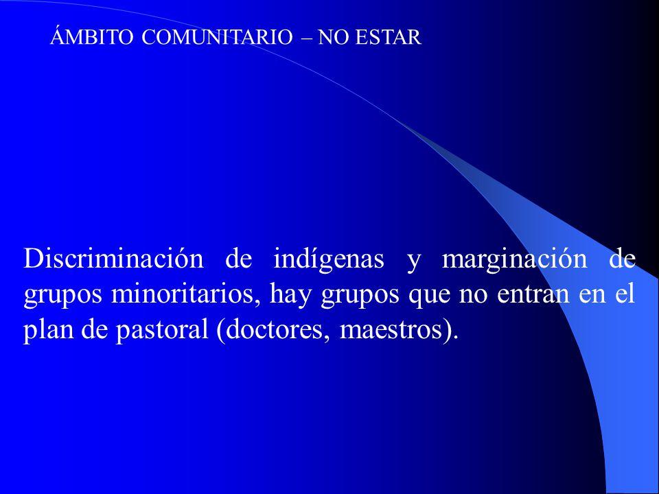ÁMBITO COMUNITARIO – NO ESTAR Discriminación de indígenas y marginación de grupos minoritarios, hay grupos que no entran en el plan de pastoral (doctores, maestros).