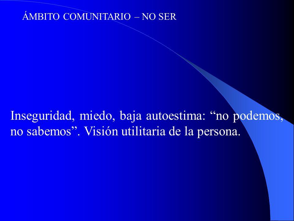 ÁMBITO COMUNITARIO – NO SER Inseguridad, miedo, baja autoestima: no podemos, no sabemos.