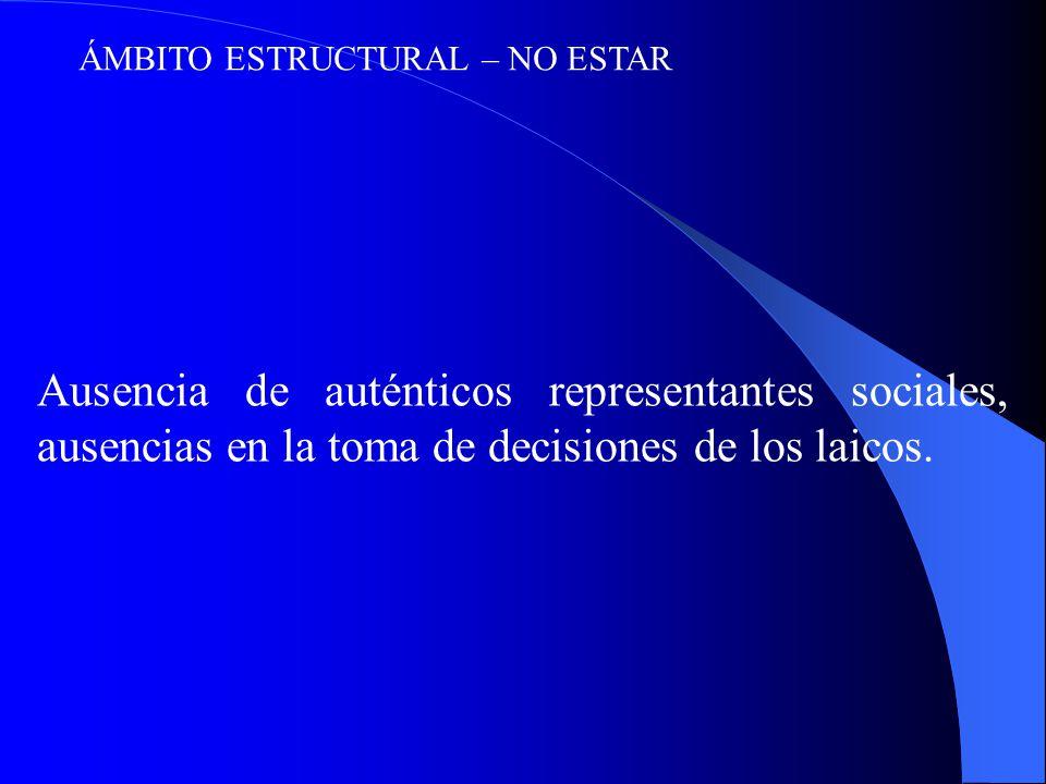 ÁMBITO ESTRUCTURAL – NO ESTAR Ausencia de auténticos representantes sociales, ausencias en la toma de decisiones de los laicos.