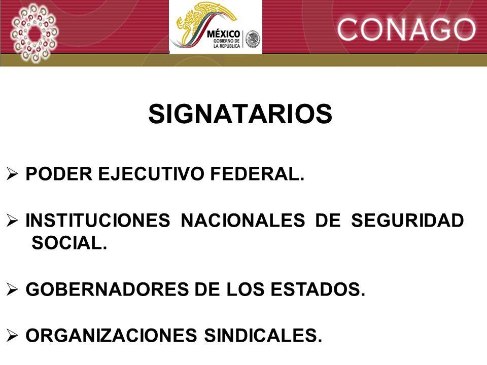 12 SIGNATARIOS PODER EJECUTIVO FEDERAL. INSTITUCIONES NACIONALES DE SEGURIDAD SOCIAL.