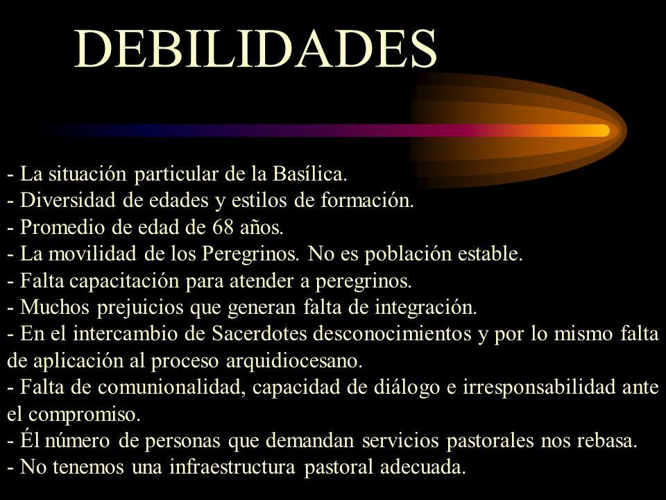 DEBILIDADES - La situación particular de la Basílica.