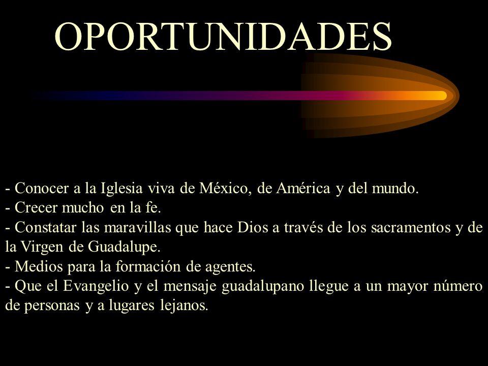 OPORTUNIDADES - Conocer a la Iglesia viva de México, de América y del mundo.