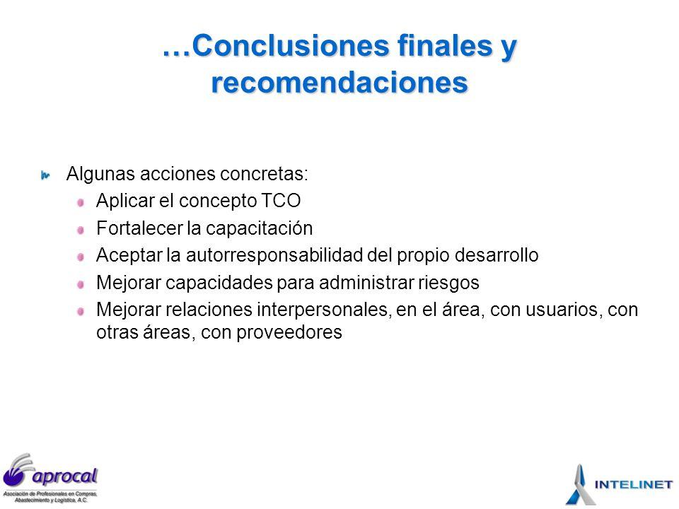 …Conclusiones finales y recomendaciones Algunas acciones concretas: Aplicar el concepto TCO Fortalecer la capacitación Aceptar la autorresponsabilidad