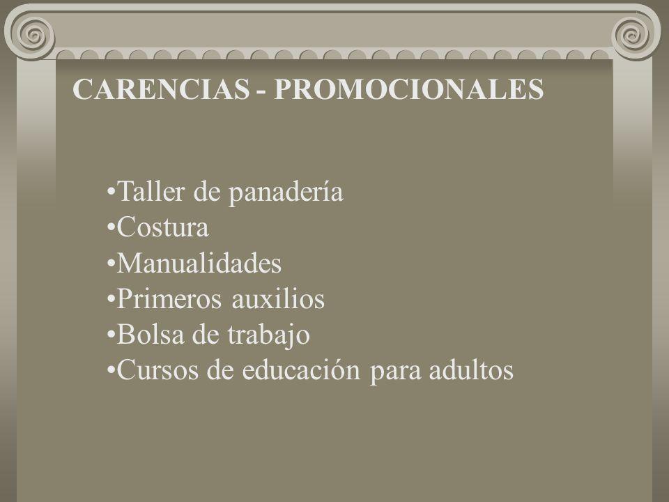 CARENCIAS - PROMOCIONALES Taller de panadería Costura Manualidades Primeros auxilios Bolsa de trabajo Cursos de educación para adultos