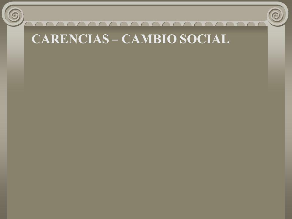 CARENCIAS – CAMBIO SOCIAL