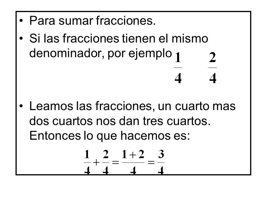 Si las fracciones tienen diferente denominador, necesitamos convertir las dos fracciones a una fraccion con el mismo denominador.