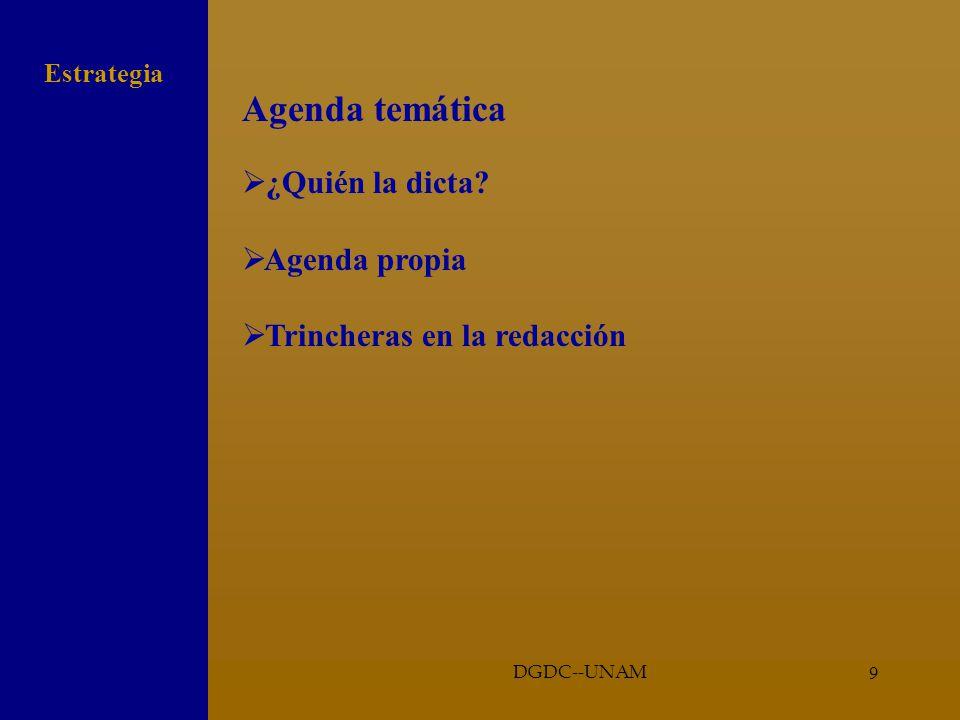 9 Agenda temática ¿Quién la dicta? Agenda propia Trincheras en la redacción Estrategia DGDC--UNAM