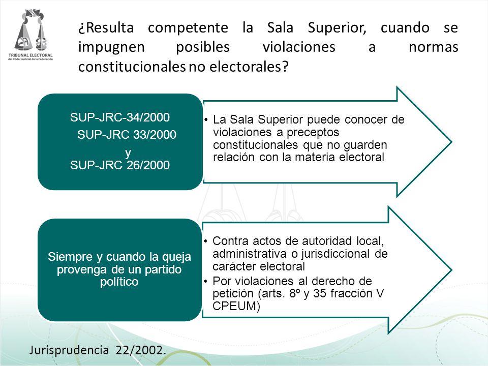 ¿Resulta competente la Sala Superior, cuando se impugnen posibles violaciones a normas constitucionales no electorales? Jurisprudencia 22/2002. La Sal