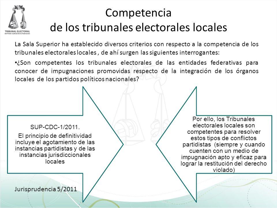 Competencia de los tribunales electorales locales La Sala Superior ha establecido diversos criterios con respecto a la competencia de los tribunales e
