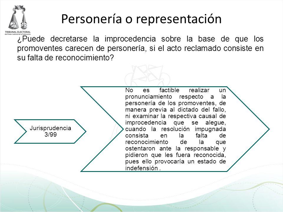 Personería o representación ¿Puede decretarse la improcedencia sobre la base de que los promoventes carecen de personería, si el acto reclamado consis