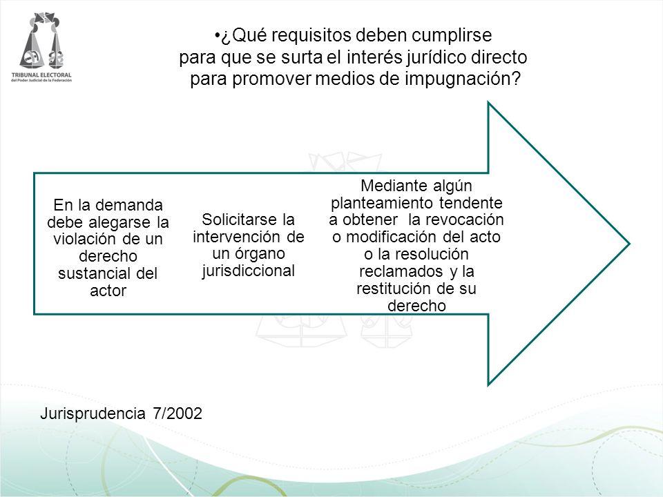 ¿Qué requisitos deben cumplirse para que se surta el interés jurídico directo para promover medios de impugnación? Jurisprudencia 7/2002 Mediante algú