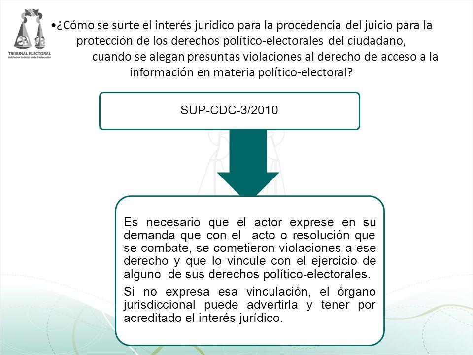 ¿Cómo se surte el interés jurídico para la procedencia del juicio para la protección de los derechos político-electorales del ciudadano, cuando se ale