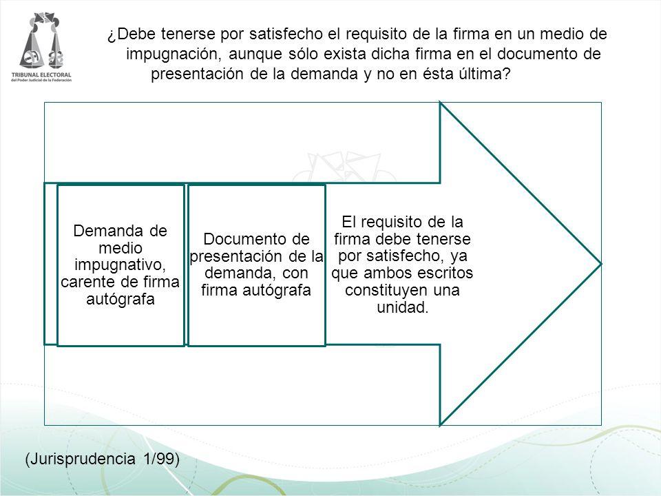 ¿Debe tenerse por satisfecho el requisito de la firma en un medio de impugnación, aunque sólo exista dicha firma en el documento de presentación de la
