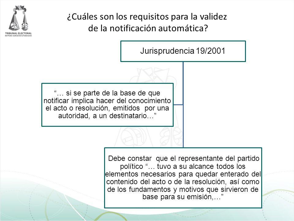 ¿Cuáles son los requisitos para la validez de la notificación automática? Jurisprudencia 19/2001 Debe constar que el representante del partido polític