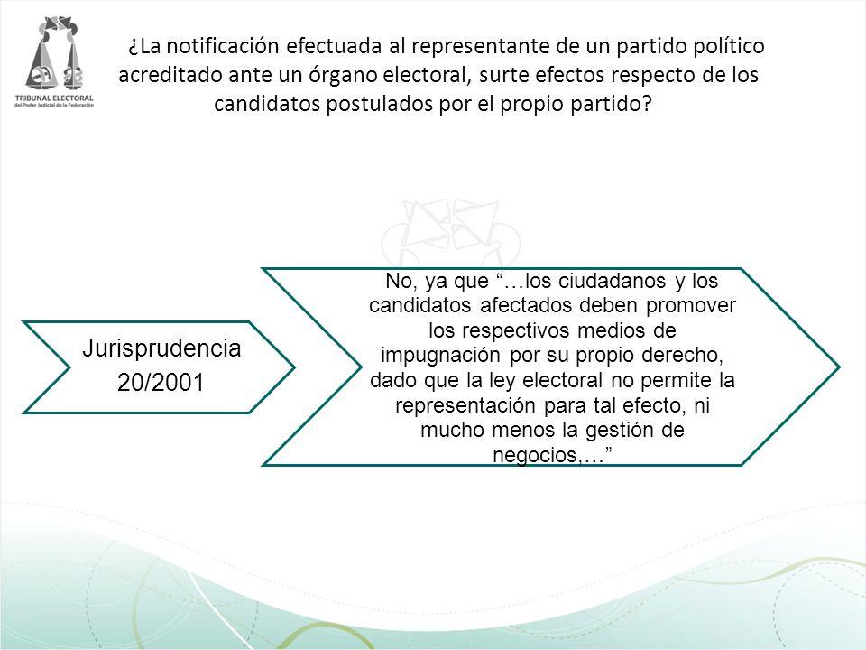 ¿La notificación efectuada al representante de un partido político acreditado ante un órgano electoral, surte efectos respecto de los candidatos postu