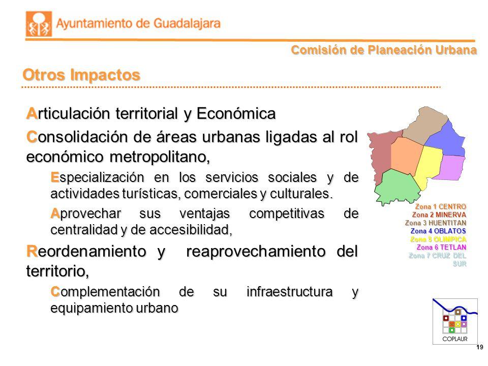 Comisión de Planeación Urbana 19 Otros Impactos Articulación territorial y Económica Consolidación de áreas urbanas ligadas al rol económico metropoli