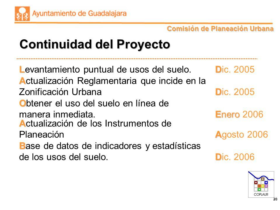 Comisión de Planeación Urbana 20 LD Levantamiento puntual de usos del suelo. Dic. 2005 A Actualización Reglamentaria que incide en la D Zonificación U