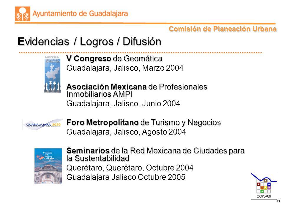 Comisión de Planeación Urbana 21 V Congreso de Geomática Guadalajara, Jalisco, Marzo 2004 Asociación Mexicana de Profesionales Inmobiliarios AMPI Guad