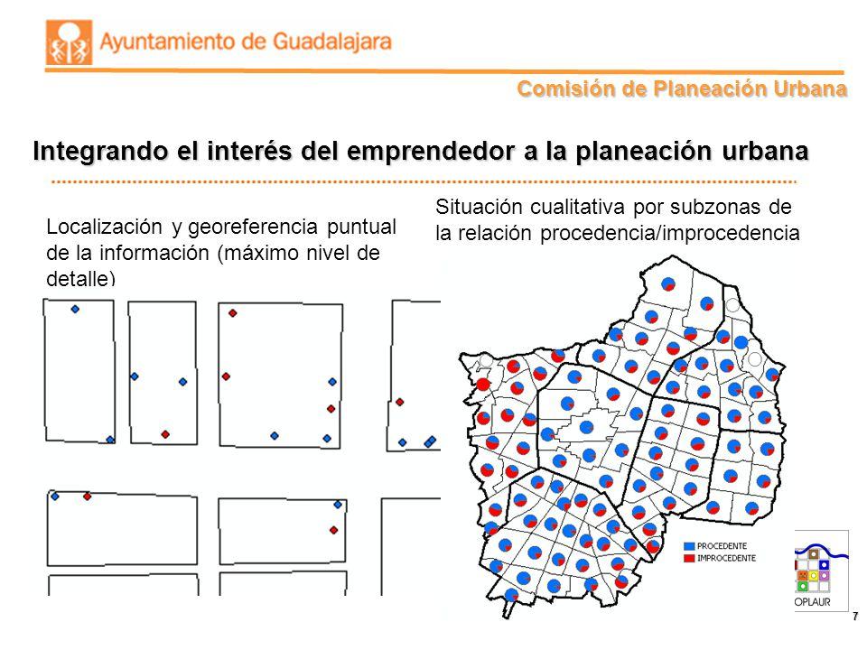 Comisión de Planeación Urbana 7 Localización y georeferencia puntual de la información (máximo nivel de detalle) Situación cualitativa por subzonas de