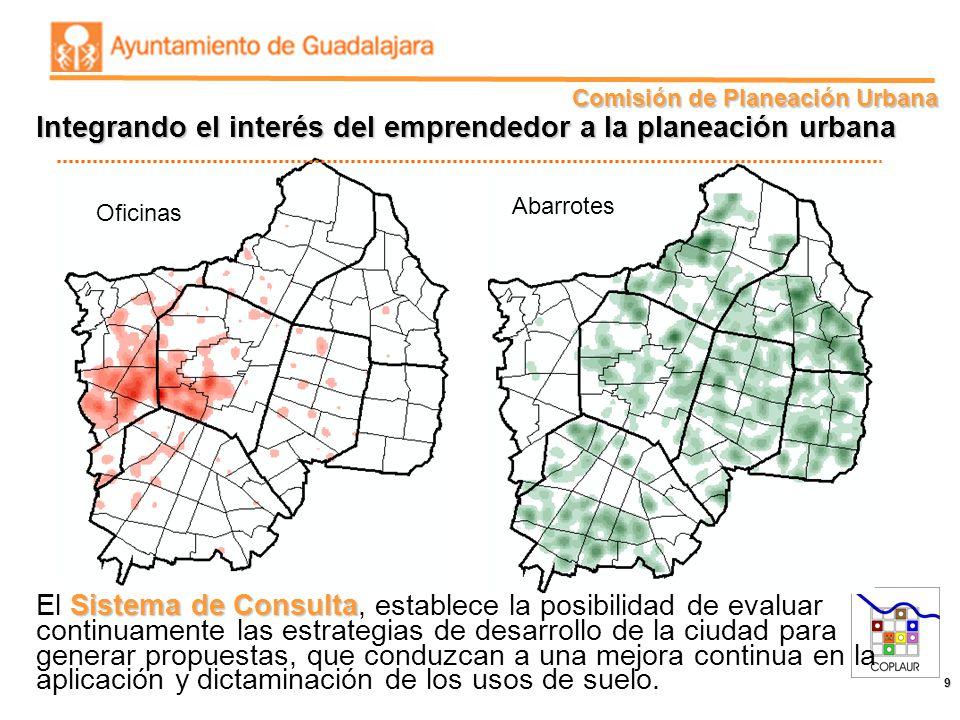 Comisión de Planeación Urbana 9 Oficinas Abarrotes Integrando el interés del emprendedor a la planeación urbana Sistema de Consulta El Sistema de Cons