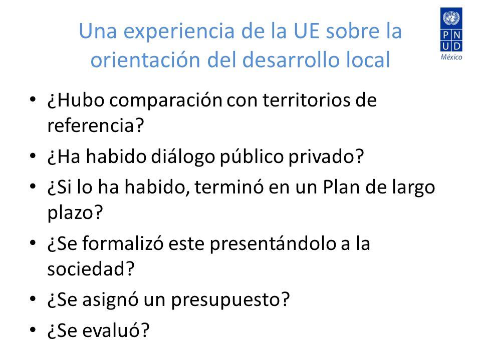 Una experiencia de la UE sobre la orientación del desarrollo local ¿Hubo comparación con territorios de referencia? ¿Ha habido diálogo público privado