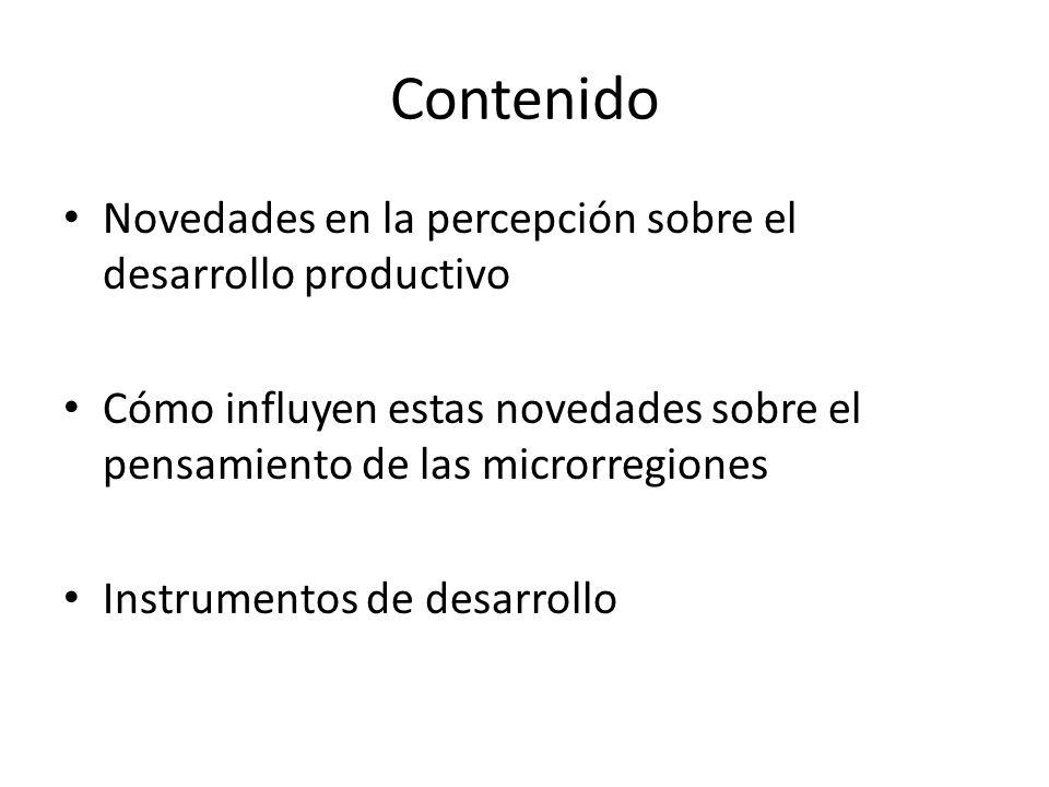 Contenido Novedades en la percepción sobre el desarrollo productivo Cómo influyen estas novedades sobre el pensamiento de las microrregiones Instrumentos de desarrollo