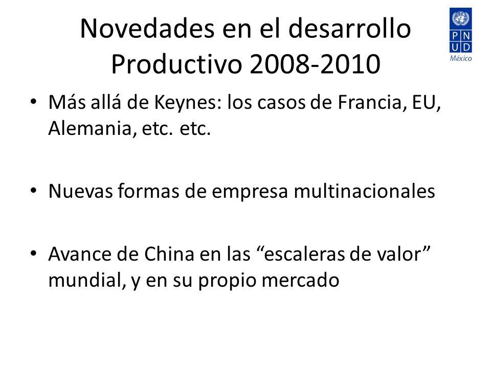 Novedades en el desarrollo Productivo 2008-2010 Más allá de Keynes: los casos de Francia, EU, Alemania, etc. etc. Nuevas formas de empresa multinacion