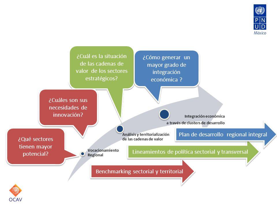 Análisis y resultados Vocacionamiento Regional Análisis y territorialización de las cadenas de valor Integración económica a través de clusters de des