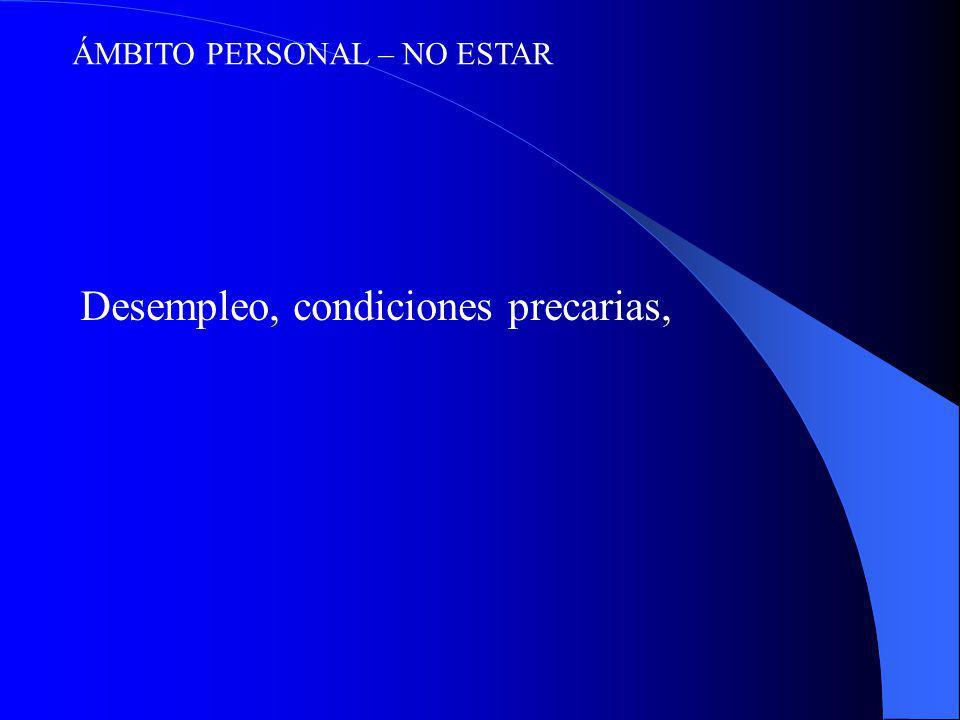 ÁMBITO PERSONAL – NO ESTAR Desempleo, condiciones precarias,