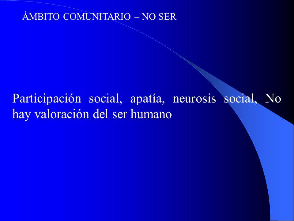 ÁMBITO COMUNITARIO – NO SER Participación social, apatía, neurosis social, No hay valoración del ser humano