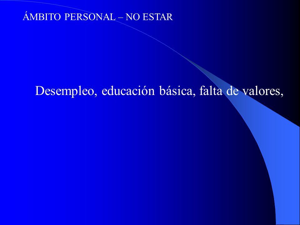 ÁMBITO PERSONAL – NO ESTAR Desempleo, educación básica, falta de valores,