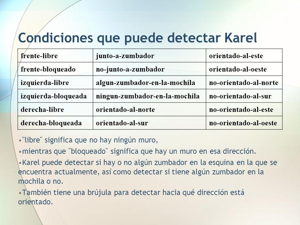 Condiciones que puede detectar Karel