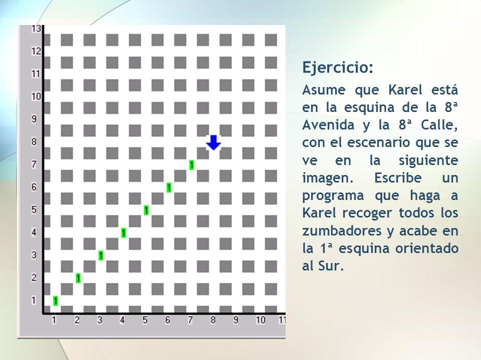 Ejercicio: Asume que Karel está en la esquina de la 8ª Avenida y la 8ª Calle, con el escenario que se ve en la siguiente imagen. Escribe un programa q