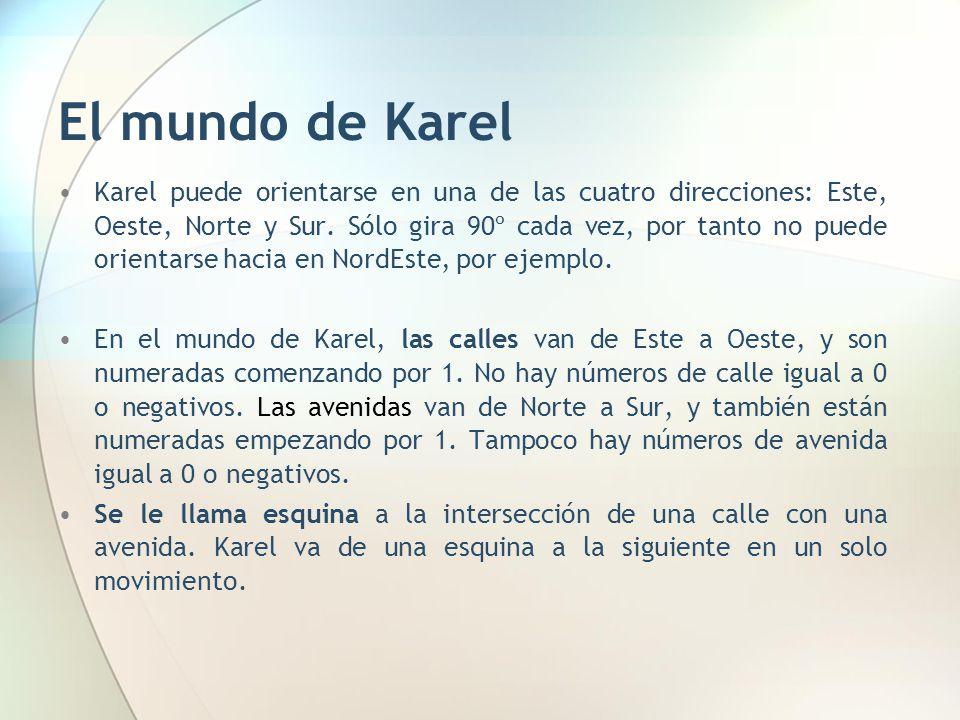 El mundo de Karel Karel puede orientarse en una de las cuatro direcciones: Este, Oeste, Norte y Sur. Sólo gira 90º cada vez, por tanto no puede orient