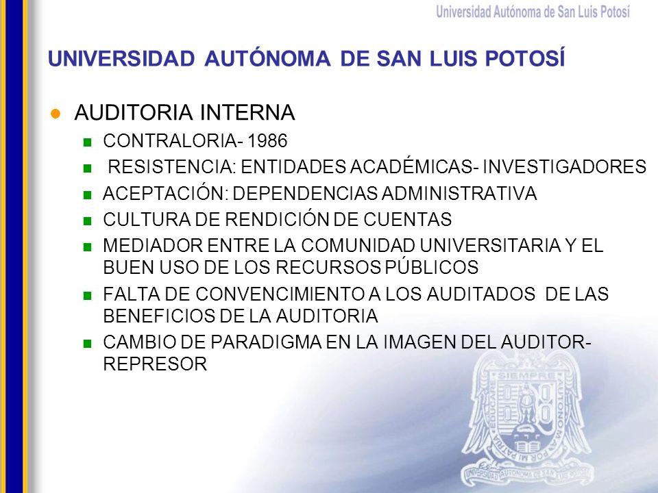 UNIVERSIDAD AUTÓNOMA DE SAN LUIS POTOSÍ AUDITORIA INTERNA CONTRALORIA- 1986 RESISTENCIA: ENTIDADES ACADÉMICAS- INVESTIGADORES ACEPTACIÓN: DEPENDENCIAS ADMINISTRATIVA CULTURA DE RENDICIÓN DE CUENTAS MEDIADOR ENTRE LA COMUNIDAD UNIVERSITARIA Y EL BUEN USO DE LOS RECURSOS PÚBLICOS FALTA DE CONVENCIMIENTO A LOS AUDITADOS DE LAS BENEFICIOS DE LA AUDITORIA CAMBIO DE PARADIGMA EN LA IMAGEN DEL AUDITOR- REPRESOR