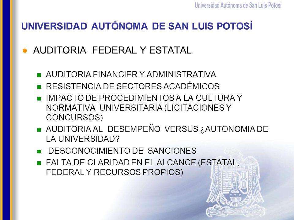 UNIVERSIDAD AUTÓNOMA DE SAN LUIS POTOSÍ AUDITORIA FEDERAL Y ESTATAL AUDITORIA FINANCIER Y ADMINISTRATIVA RESISTENCIA DE SECTORES ACADÉMICOS IMPACTO DE PROCEDIMIENTOS A LA CULTURA Y NORMATIVA UNIVERSITARIA (LICITACIONES Y CONCURSOS) AUDITORIA AL DESEMPEÑO VERSUS ¿AUTONOMIA DE LA UNIVERSIDAD.