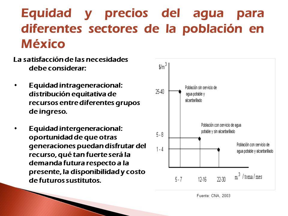 Equidad y precios del agua para diferentes sectores de la población en México La satisfacción de las necesidades debe considerar: Equidad intrageneracional: distribución equitativa de recursos entre diferentes grupos de ingreso.