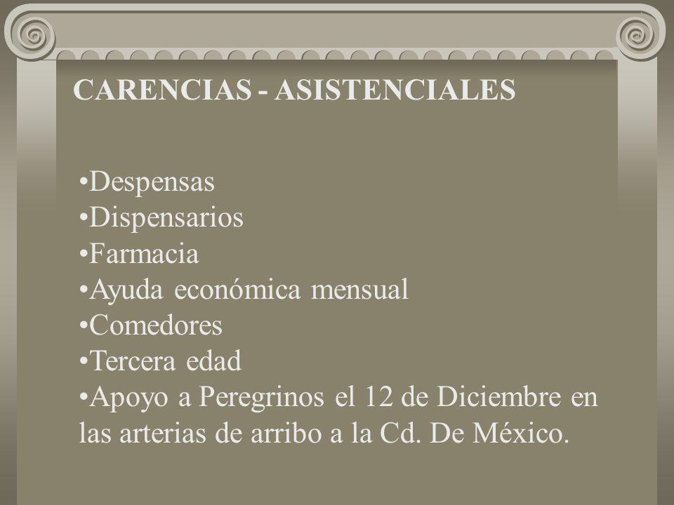 CARENCIAS - ASISTENCIALES Despensas Dispensarios Farmacia Ayuda económica mensual Comedores Tercera edad Apoyo a Peregrinos el 12 de Diciembre en las arterias de arribo a la Cd.