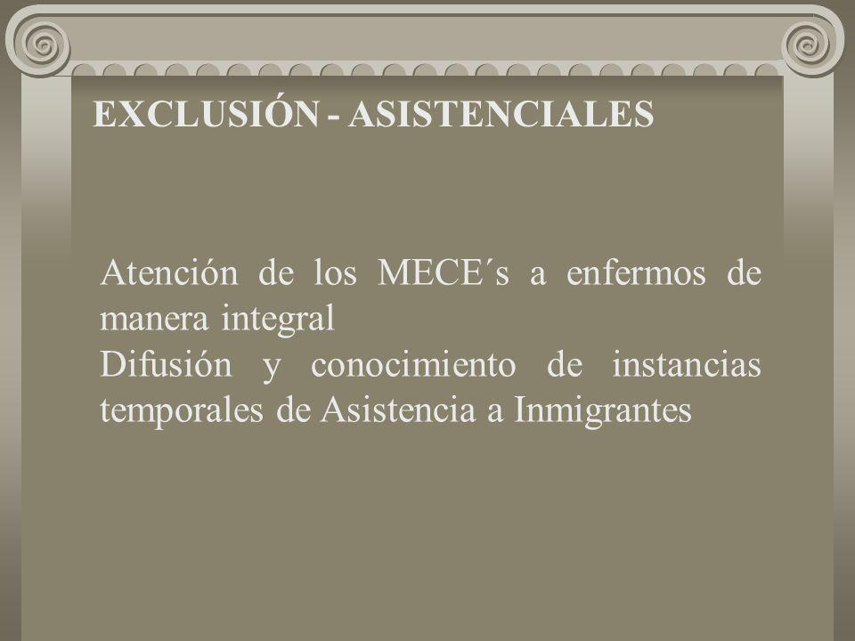 EXCLUSIÓN - ASISTENCIALES Atención de los MECE´s a enfermos de manera integral Difusión y conocimiento de instancias temporales de Asistencia a Inmigrantes