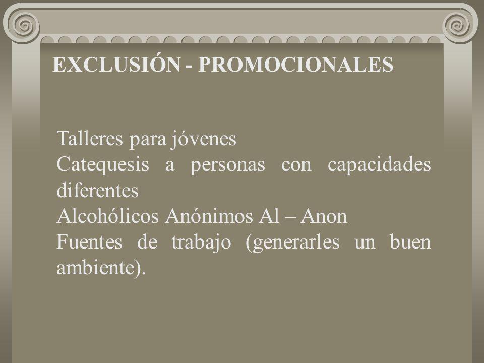 EXCLUSIÓN - PROMOCIONALES Talleres para jóvenes Catequesis a personas con capacidades diferentes Alcohólicos Anónimos Al – Anon Fuentes de trabajo (generarles un buen ambiente).