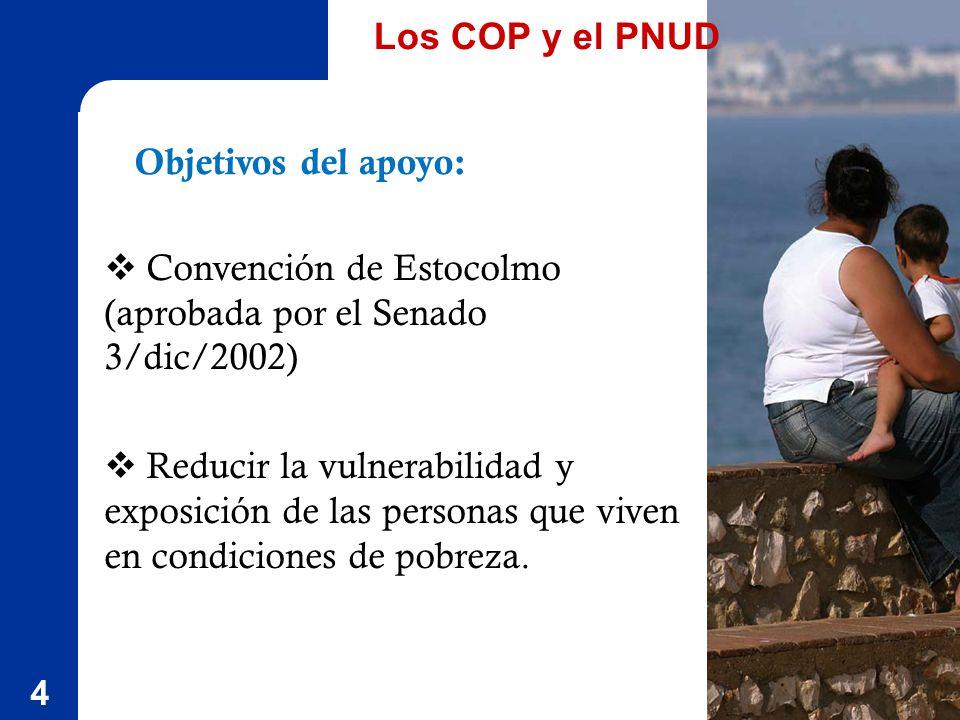 4 Objetivos del apoyo: Convención de Estocolmo (aprobada por el Senado 3/dic/2002) Reducir la vulnerabilidad y exposición de las personas que viven en condiciones de pobreza.