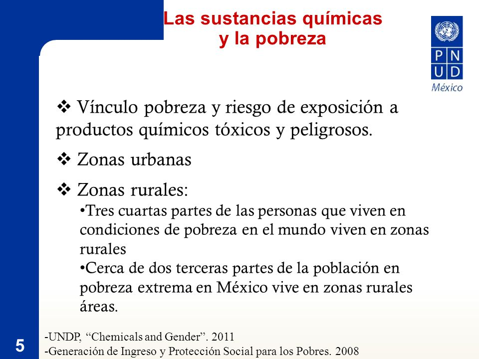 5 Vínculo pobreza y riesgo de exposición a productos químicos tóxicos y peligrosos.