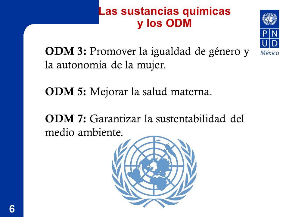6 Las sustancias químicas y los ODM ODM 3: Promover la igualdad de género y la autonomía de la mujer.