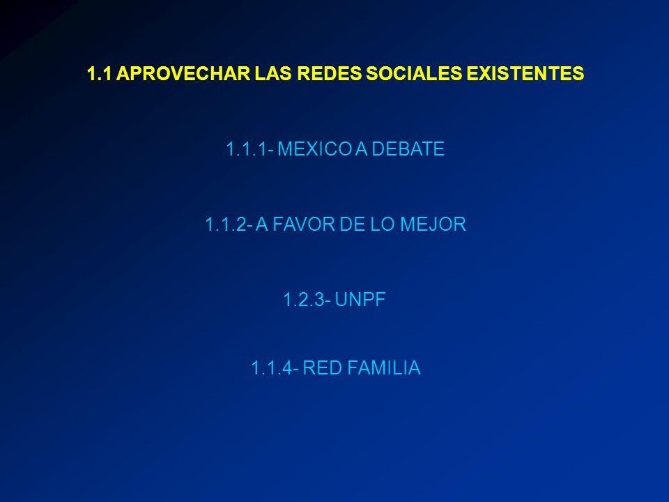1.1 APROVECHAR LAS REDES SOCIALES EXISTENTES 1.1.1- MEXICO A DEBATE 1.1.2- A FAVOR DE LO MEJOR 1.2.3- UNPF 1.1.4- RED FAMILIA