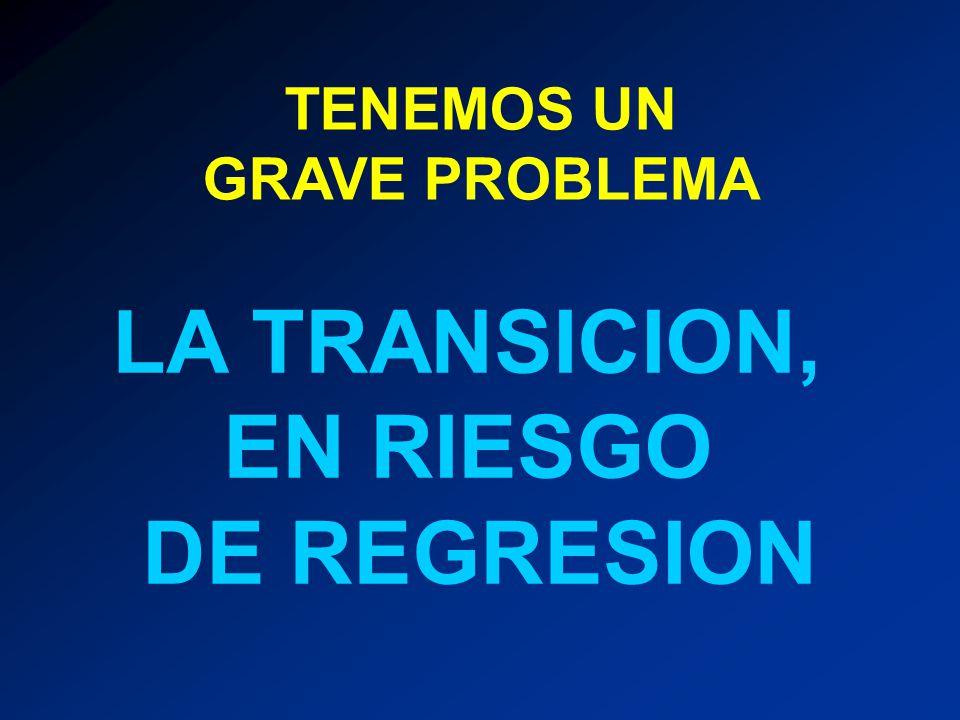 EL RIESGO DE CORTO PLAZO CONSISTE EN QUE: PERSONAS AJENAS O CONTRARIAS A LA NECESARIA TRANSICION, AUMENTEN SU INFLUENCIA SIGNIFICATIVAMENTE EN 2012 CAUSAS 1.0 CRISIS ECONOMICA MUNDIAL Y NACIONAL 2.0 FALTA DE ARMONIA DE LOS INTERESES EN LA SOCIEDAD (BIEN COMUN) 3.0 MEDIOS DE COMUNICACION DESORIENTADORES 4.0 DETERIORO DE LA GOBERNABILIDAD 5.0 INSEGURIDAD