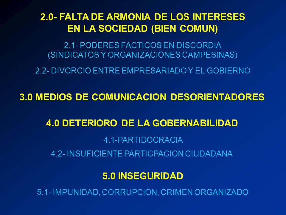 2.0- FALTA DE ARMONIA DE LOS INTERESES EN LA SOCIEDAD (BIEN COMUN) 2.1- PODERES FACTICOS EN DISCORDIA (SINDICATOS Y ORGANIZACIONES CAMPESINAS) 2.2- DI