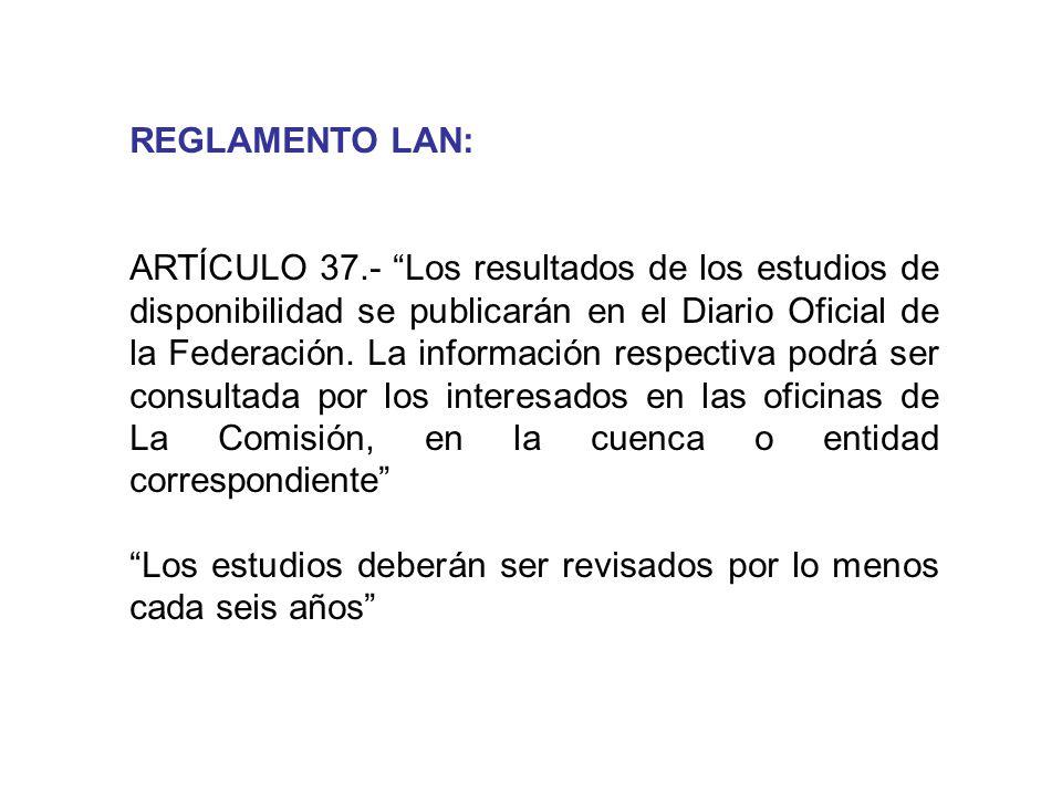 REGLAMENTO LAN: ARTÍCULO 37.- Los resultados de los estudios de disponibilidad se publicarán en el Diario Oficial de la Federación. La información res